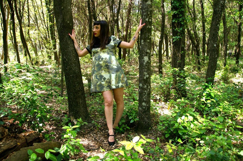 Nature Print Empire Waist A Line Dress Woodland Mini Dress Forest Print Dress with Puffy Sleeves and Peter Pan Collar Made to Order