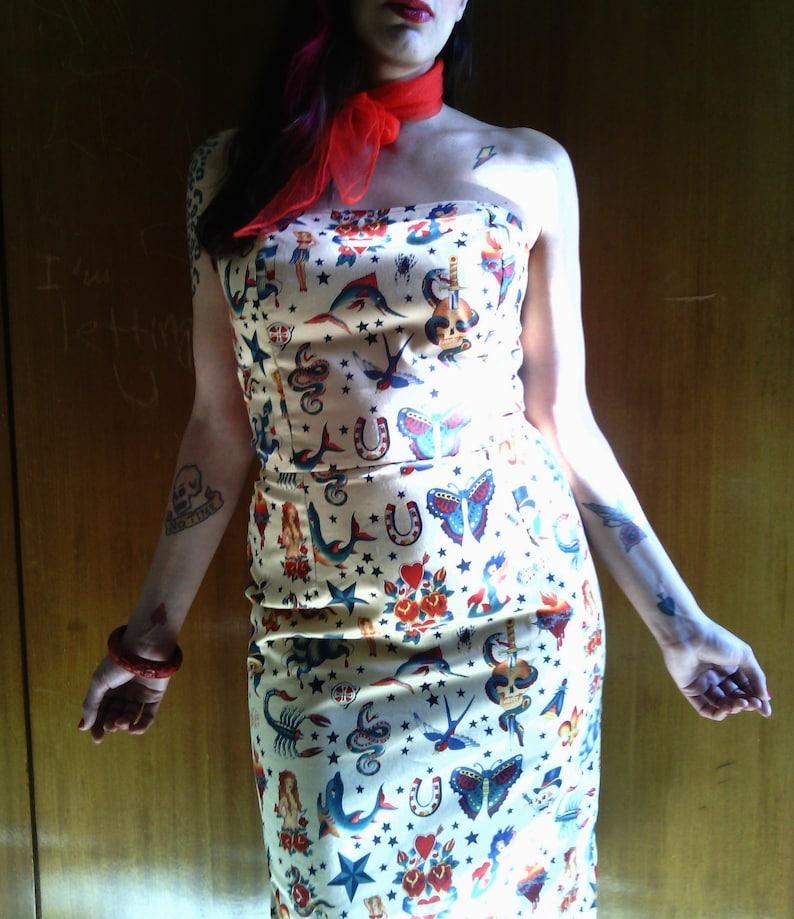 fbb17ddd4b08f Tattoo Print Dress made of Cotton, Strapless Old School Tattoo Print Dress  in Alexander Henry Fabric, Made to Order