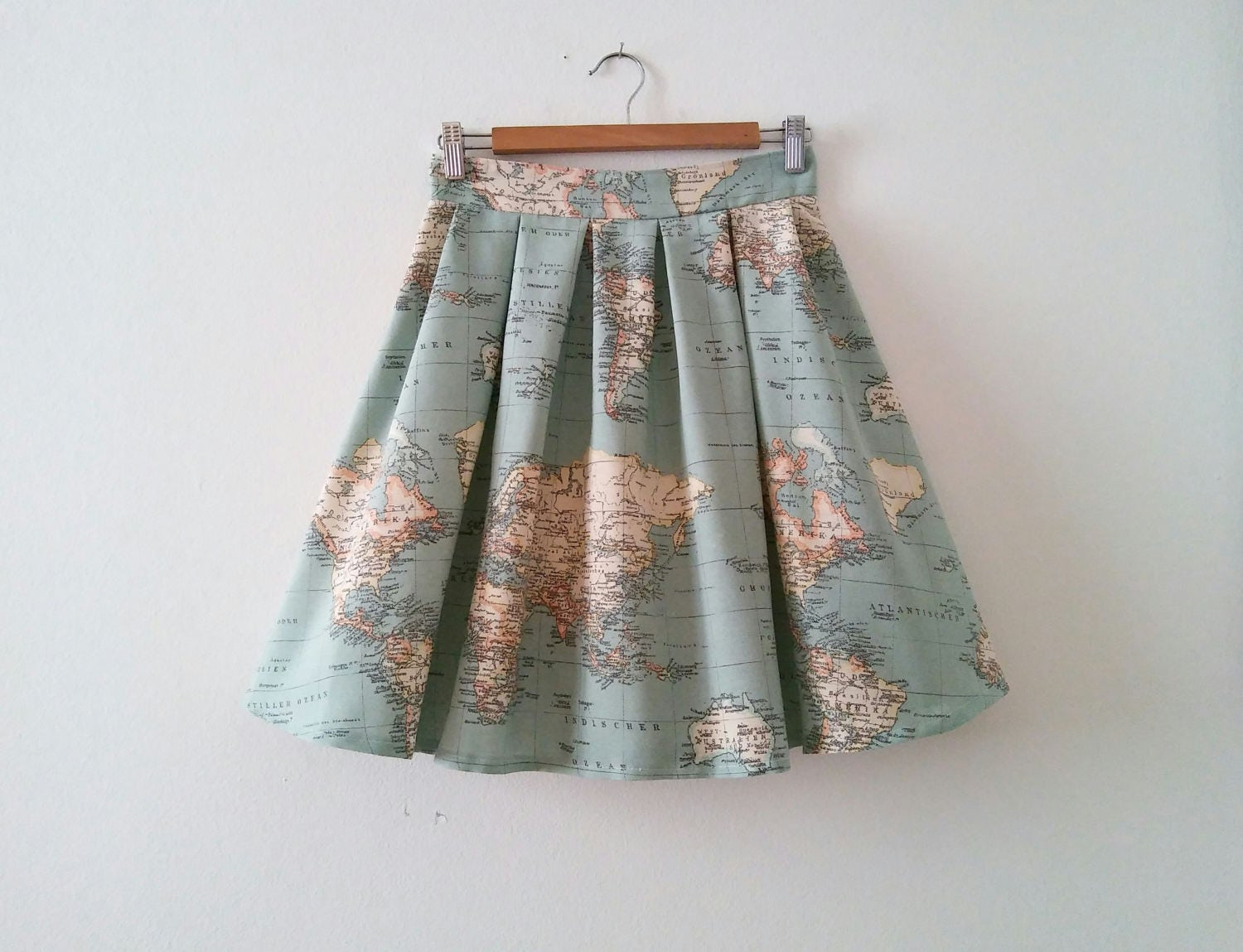Map Cotton Skirt With High Waist In Blue Green Atlas Print Etsy