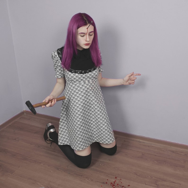 c703f3e0320c Eyeballs Mini Dress Mod A Line Cotton Dress with Spooky Eyes | Etsy