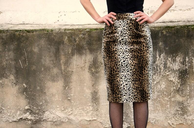 84e7aa7dc8f2 Animal Print Skirt Made of Vegan Faux Fur Leopard Print High | Etsy