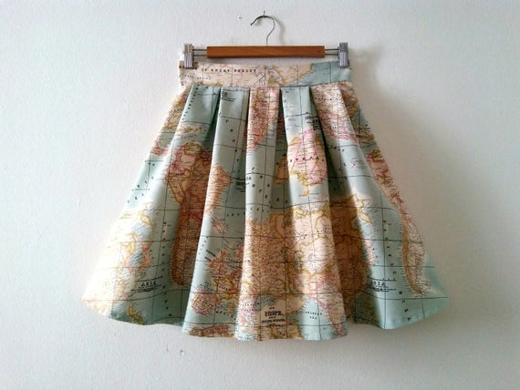 World Map Skirt In Blue Map Print High Waisted Skirt Cotton Etsy