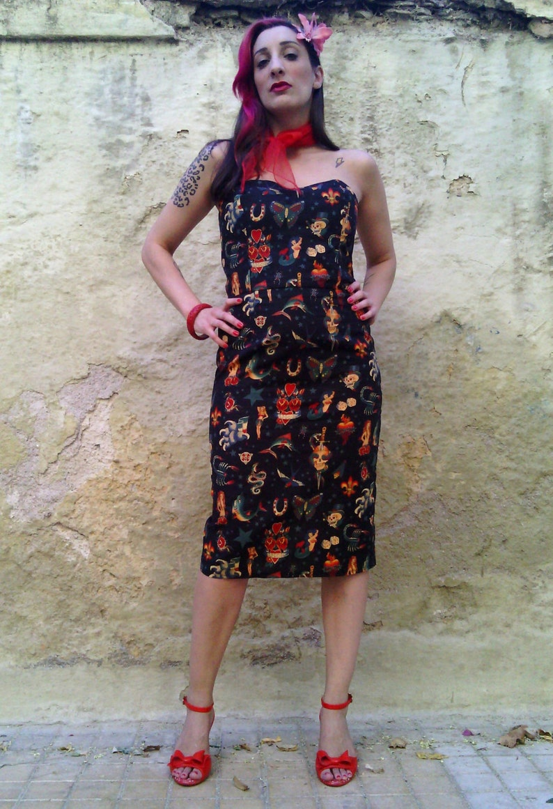 d945bf19dbd85 Tattoo Dress Made of Cotton, Black Strapless Fitted Dress with Old School  Tattoo Print, Alexander Henry Tattoo Fabric, Made to Order