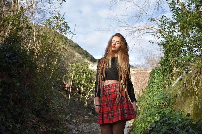 bc8c750f0 Red Tartan Mini Skirt Made of Wool Plaid Pleated Skater | Etsy