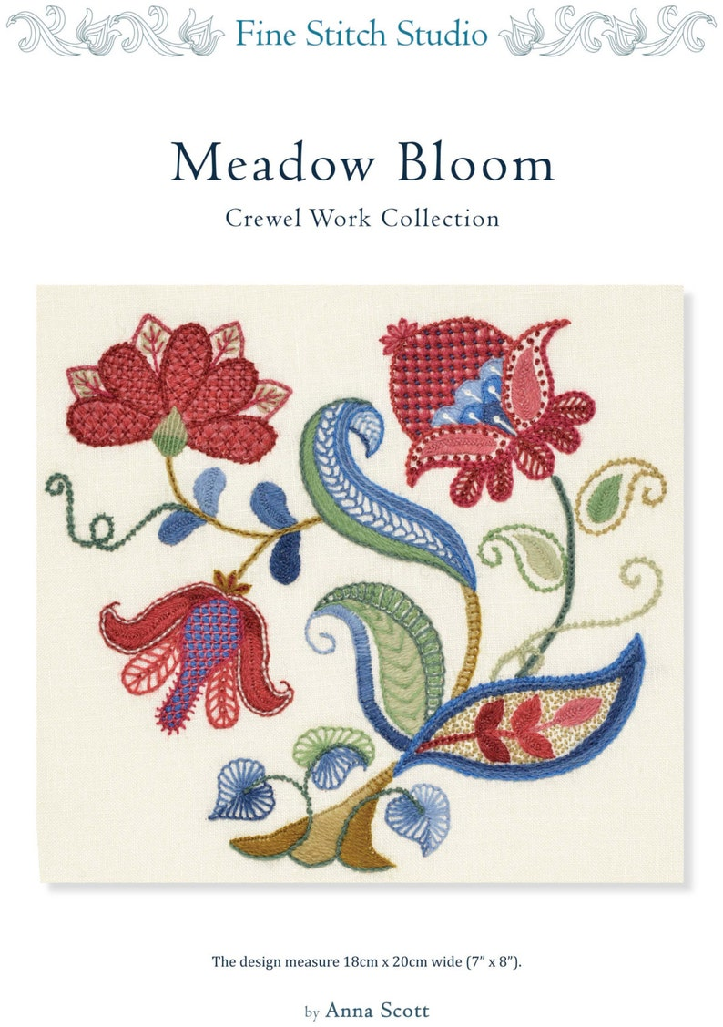 PDF download MEADOW BLOOM crewel embroidery pattern image 0