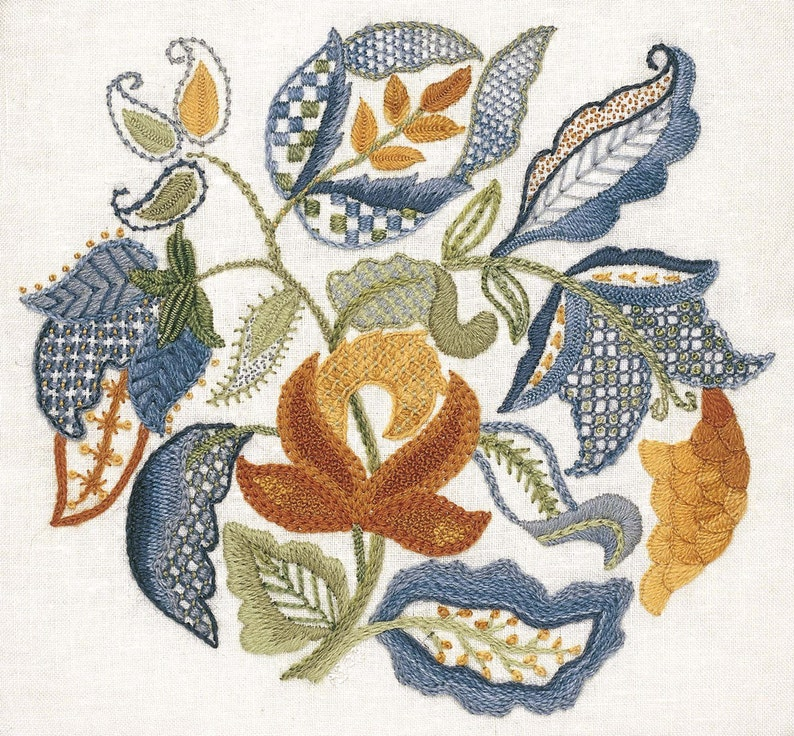 Crewel Embroidery Kit  JACOBEAN LEAVES image 0