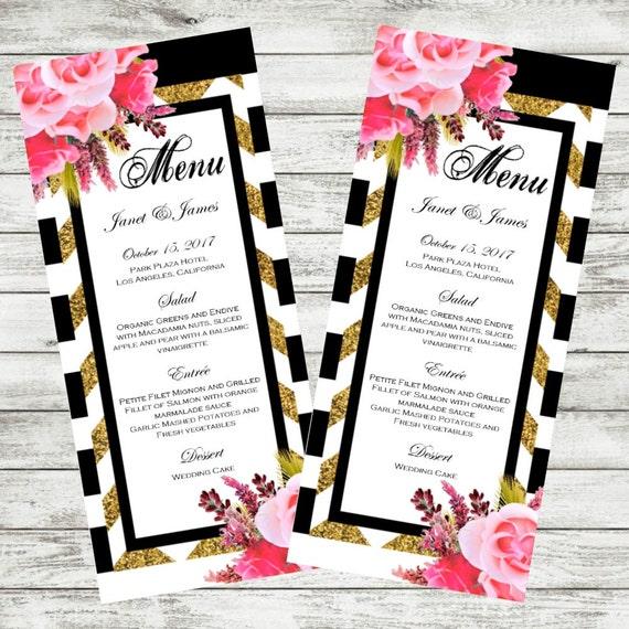 Wedding Menu Card Pink Floral Menu Black White Stripes Etsy