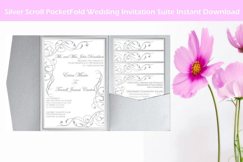 Diy Pocket Invitation Template Pocketfold Wedding Invitations Etsy
