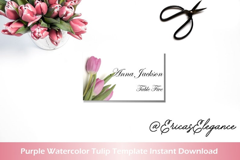 image regarding Tulip Template Printable called Red and White Printable Area Card \