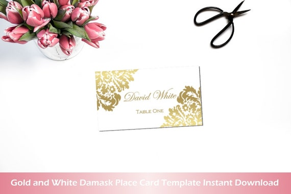 Place Card Template Gold White Damask Word Template Small Etsy