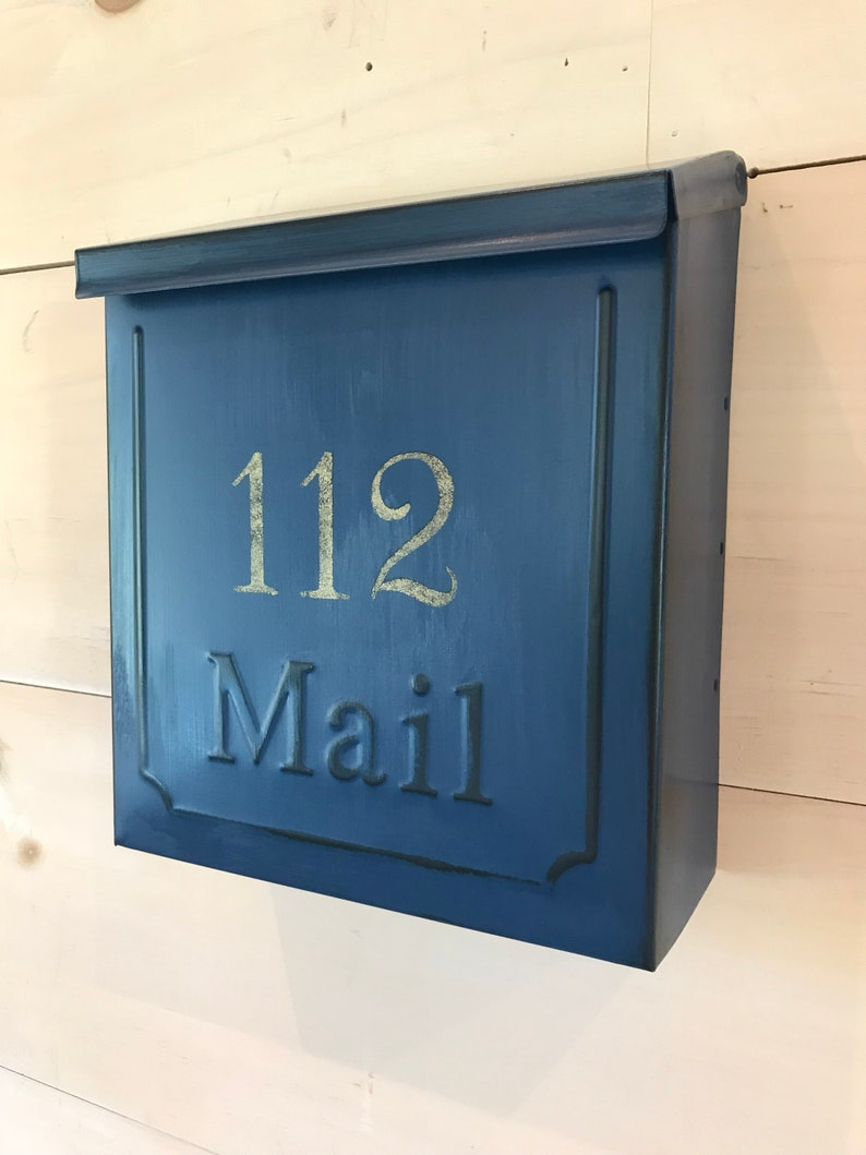 distressed NAVY BLUE mailbox with GOLD house # Wall mount mailbox Americana mailbox