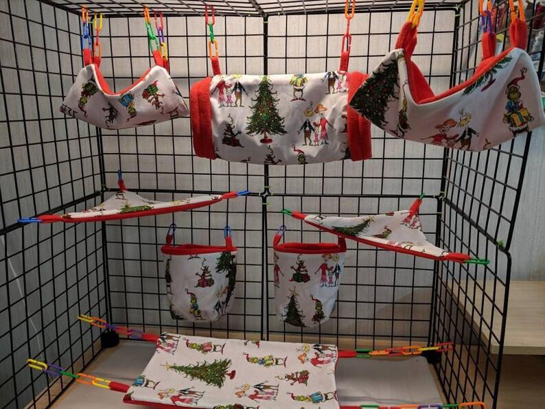 8 Piece Sugar Glider Cage SetGrinchmas Gathering ChristmasSugar Glider Accessories