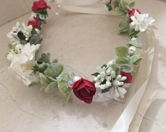 Red and ivory flower crown/ circlet/ halo