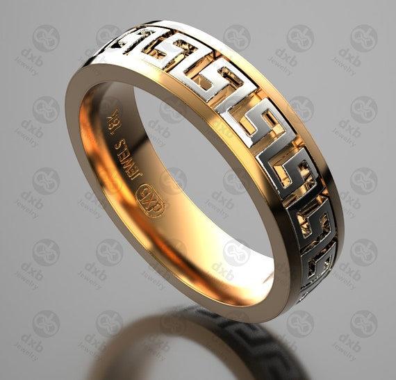 Versace Wedding Band Mens Ring Greek Key Ring Gouden Etsy