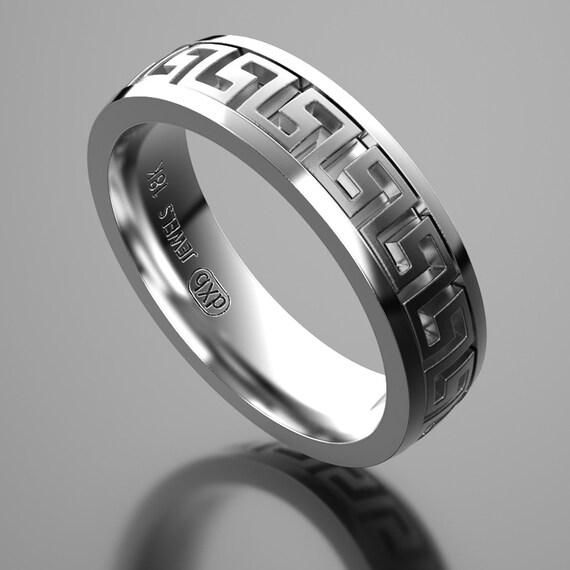 Stainless Steel 2 Color Greek Key Cushion Biker Ring