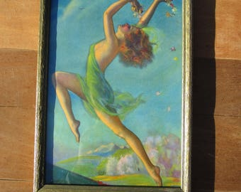 Dancing Spring Girl Vintage Art in old frame