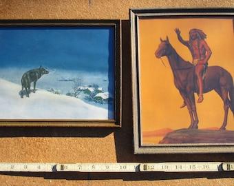 American Indian Illustration Vintage Prints in Antique Frames