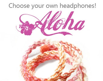 Wrapped Earbuds | Tangle Free Headphones in Tropical Hawaii Aloha Ombre | iPhone 8, Android Earphones | Wife Gift For Her Cotton Anniversary