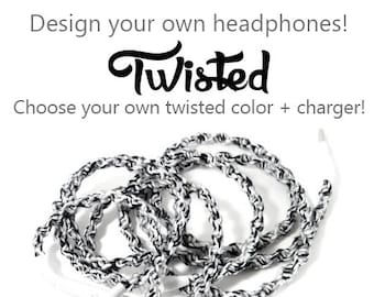 Design Your Own Earbuds | Choose our Own Color & Headphones | Custom Wrapped Tangle Free Earphones | iPhone 8, Android, Skullcandy Earpods