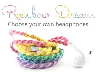 Rainbow Earbuds - Custom Made Tangle Free Headphones - Wrapped Pastel Rainbow Earphones - iPhone X, 8 LIghtning Earpods, Android, iPhone 7