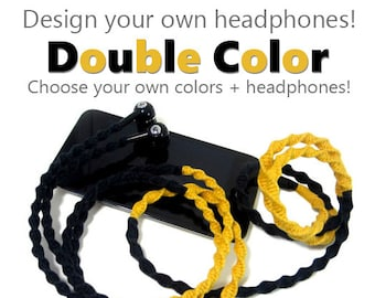 Custom Wrapped Headphones | Choose Your Own Colors | Tangle free Earbuds | Design Your Own Earphones | iPhone 7, iPhone 8, Android, Samsung