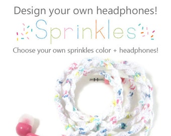 Design Your Own Custom Wrapped Tangle Free Sprinkles Colored Headphones | Apple iPhone 8 Lightning Earpods | Choose Your Own Color & Earbuds
