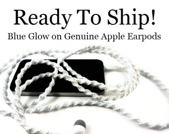 READY 2 SHIP FAST! Apple Earpods | Blue Glow In The Dark Wrapped Tangle Free Headphones | Christmas Gift For Teen | Genuine Apple Earpods