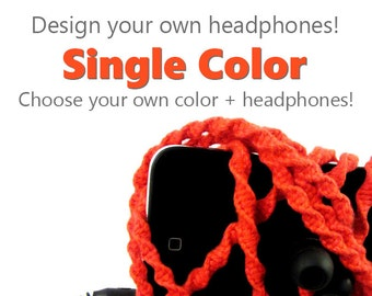 Pick Your Own Custom Color + Earbuds | Men's Wrapped Tangle Free Earphones | Apple iPhone 8 Earpods, Android, Skullcandy, Sony Headphones