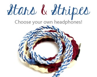 Headphones | Wrapped Tangle Free Patriotic American Flag Earbuds | Apple iPhone 8 Earpods, Android Earphones, Skullcandy | Guys Tech Gift