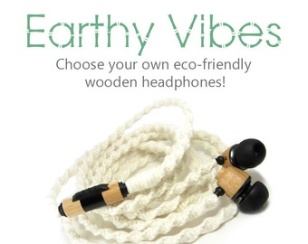 Organic Wood Earbuds | Natural Eco-Friendly Tangle Free Headphones | Undyed Yarn Custom Wrapped Wooden Skullcandy, House of Marley Earphones
