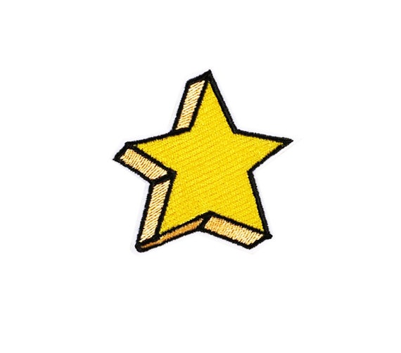 RP574 Yellow Star Patch Sew On  Iron On DIY Patch Embroidered Applique 4.3x4.3cm
