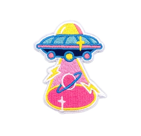Flying Saucer Embroidered Patch Outer Space Iron On Applique Kids Stuff