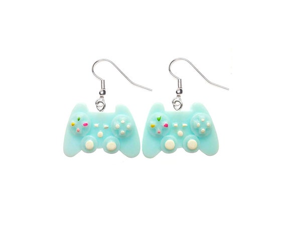 Baby Blue Game Controller Earrings Mini Pastel Resin Kawaii Etsy