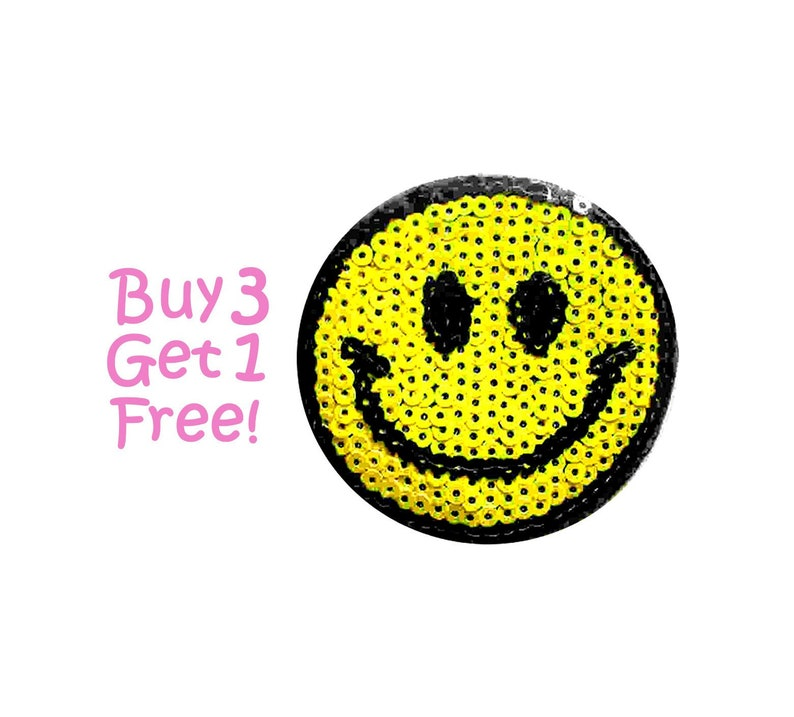 SMILEY RAINBOW   IRON ON  PATCH BUY 2 GET 1 FREE