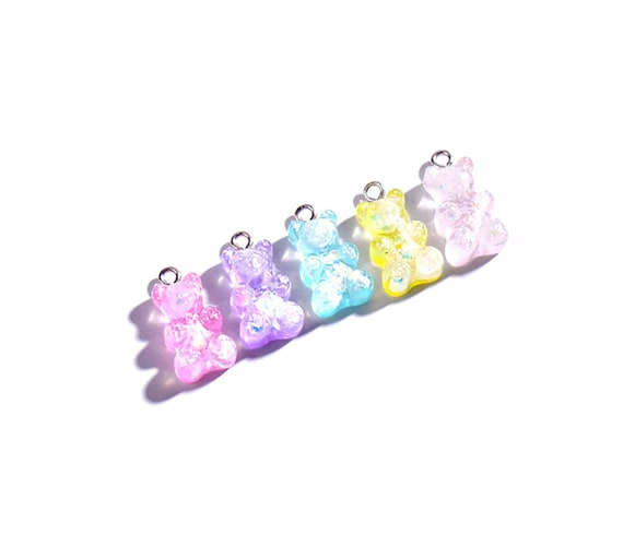 Glitter Gummy Bear Charms 5x Pastel Resin Kawaii Candy Sweet Etsy