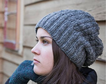 Slouchy hat beanie women winter cap, grey, Canadian wool hand knitted, fall winter accessories