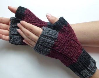 Fingerless gloves men women, wool from Canada burgundy black dark grey hand knitted, fall winter accessories