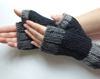 Fingerless gloves men women, Natural Canadian wool, black dark grey light grey,  handmade, fall winter accessories