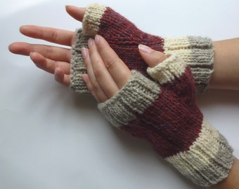 Fingerless gloves men women,  dark pink white sheep grey Canadian wool hand knitted, fall winter accessories