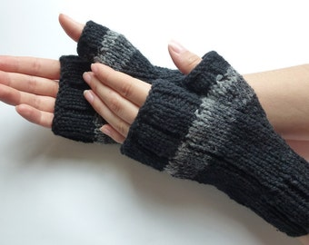 Fingerless gloves, Black grey lines, men women, Canadian wool hand-knitted