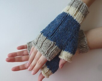 Fingerless gloves men women blue white grey wool from Canada hand knitted, fall winter accessories