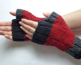 Fingerless wool gloves men women, Canadian wool red black dark grey, hand-knitted fall winter accessories