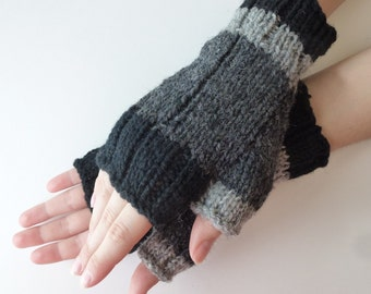 Fingerless wool gloves men women, wool from Canada Hand knitted, dark grey black light grey, fall winter accessories
