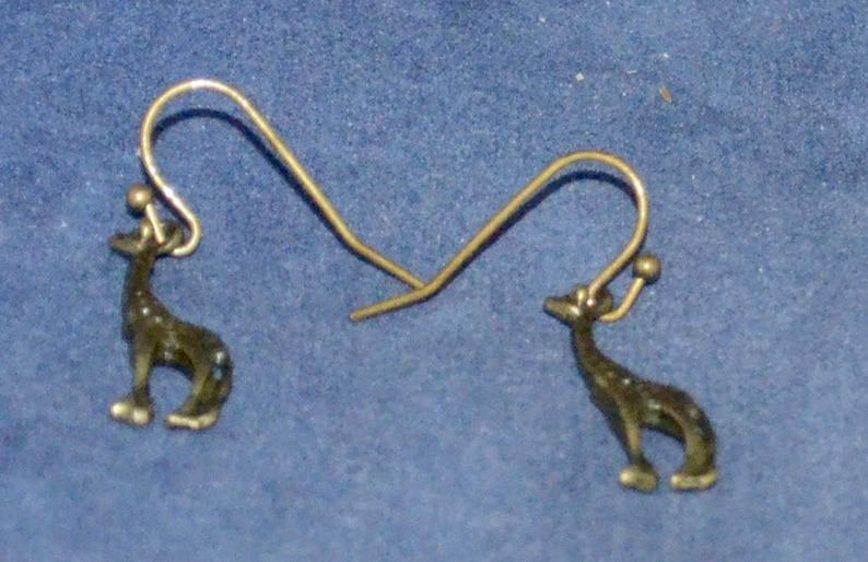 Giraffe Earrings E1181 French Hooks Antique Bronze