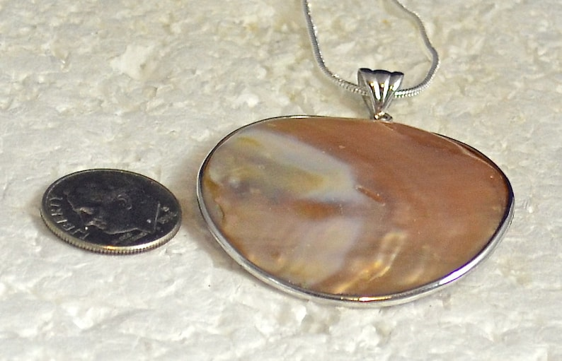 Bezel Sterling Silver Setting P724 Blister Pearl PendantNecklace Large 40mm Round