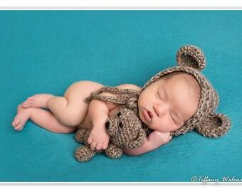 Crochet Newborn baby bear bonnet   teddy bear set crochet Newborn photo props  photography boy girl- Made to order 96a6cf907185