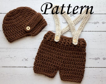 5b460e360fb Crochet PATTERN - Newborn Visor hat and suspenders short set Photo Prop Set  -Instant Download PDF - Photography Prop Pattern