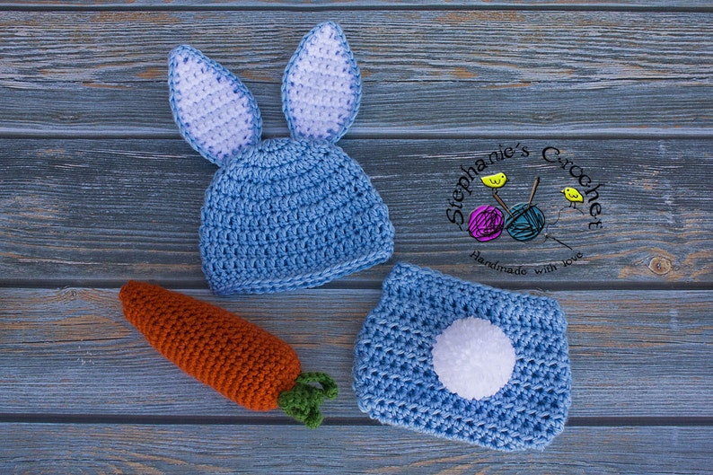 c56644593 Crochet Newborn baby boy Bunny Hat and Diaper Cover, PHOTO PROP, Bunny hat  and diaper cover set, bunny hat, carrot-Made to order