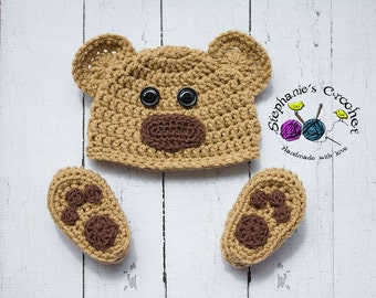 Crochet Newborn baby bear hat booties set crochet Newborn photo props photography boy/girl- Made to order
