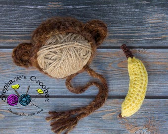 Crochet Newborn baby monkey bonnet, monkey & banana set, monkey, crochet Newborn photo props photography boy/girl- Made to order